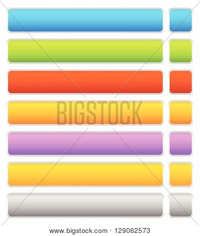 Button, Banner Background In 7 Colors - Horizontal, Long Button Templates With Blank Space For Your