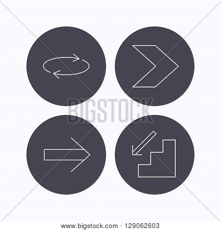 Arrows icons. Downstairs and repeat linear signs. Next arrow flat line icons. Flat icons in circle buttons on white background. Vector
