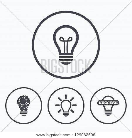 Light lamp icons. Circles lamp bulb symbols. Energy saving. Idea and success sign. Icons in circles.