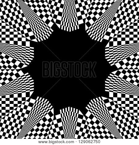 Checkered Circular Element. Abstract Monochrome Graphic With Squared, Checkered Pattern.