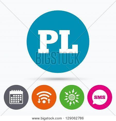 Wifi, Sms and calendar icons. Polish language sign icon. PL translation symbol. Go to web globe.