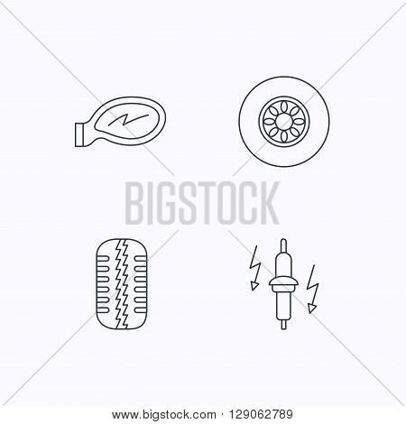 Wheel, car mirror and spark plug icons. Tire tread linear sign. Flat linear icons on white background. Vector