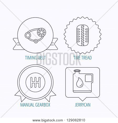 Wheel, manual gearbox and timing belt icons. Fuel jerrycan, manual transmission linear signs. Award medal, star label and speech bubble designs. Vector