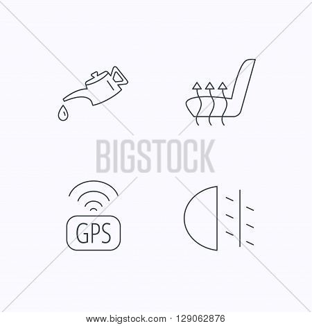 Motor oil, passing fog lights and gps icons. Heated seats linear sign. Flat linear icons on white background. Vector