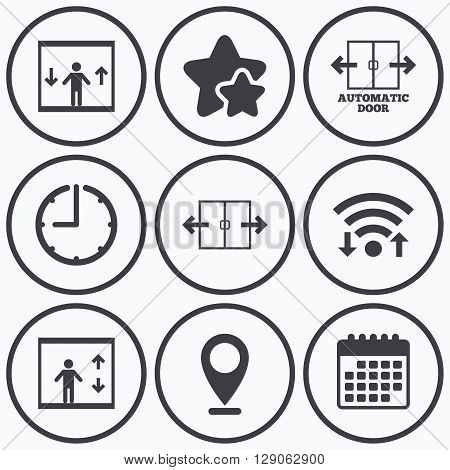 Clock, wifi and stars icons. Automatic door icons. Elevator symbols. Auto open. Person symbol with up and down arrows. Calendar symbol.