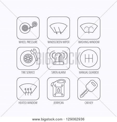 Manual gearbox, tire service and car key icons. Siren alarm, jerrycan and wheel pressure linear signs. Window washing, wiper and heated icons. Flat linear icons in squares on white background. Vector