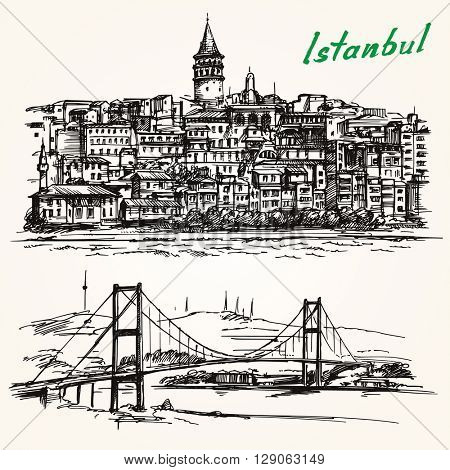 Bosporus Bridge. Hand drawn set. Istanbul, Turkey. Galata district.