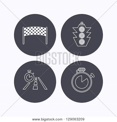 Checkpoint, traffic lights and timer icons. Travel time, road linear signs. Flat icons in circle buttons on white background. Vector