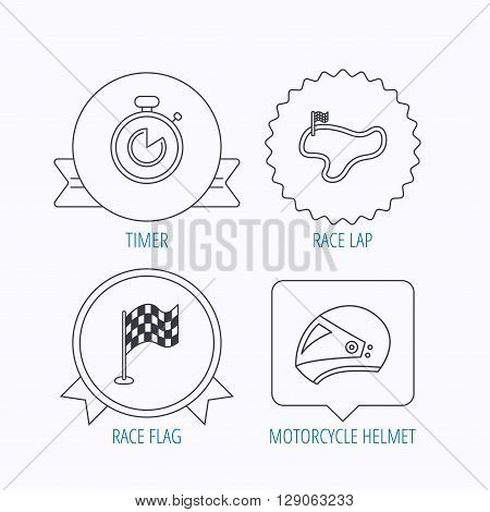 Race flag, timer and motorcycle helmet icons. Race lap linear sign. Award medal, star label and speech bubble designs. Vector
