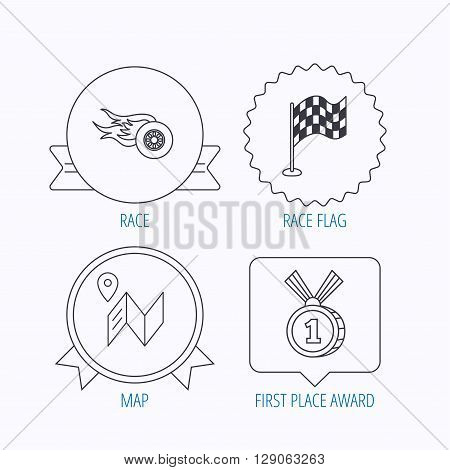Race flag, map and winner award icons. First place medal, wheel on fire linear signs. Award medal, star label and speech bubble designs. Vector