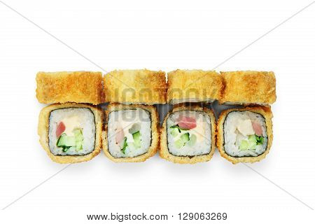 Japanese food restaurant delivery - tempura sushi rolls california with fish, avocado and cheese isolated at white background. Sushi rolls top view, flat lay.