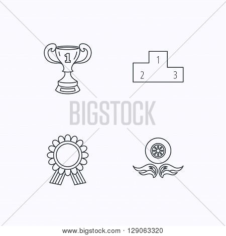 Winner cup, podium and award medal icons. Race symbol, wheel on fire linear signs. Flat linear icons on white background. Vector