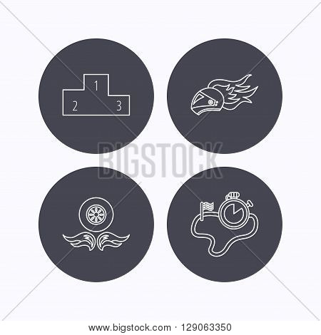 Winner podium, race timer and wheel on fire icons. Motorcycle helmet on fire linear sign. Flat icons in circle buttons on white background. Vector