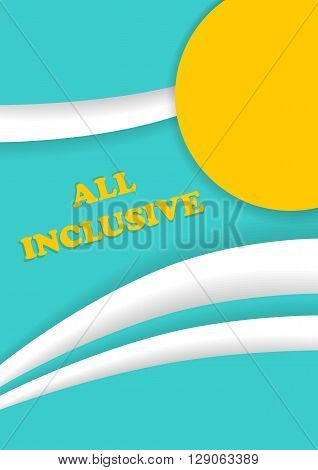 All inclusive leaflet. Summer beach resort vacation brochures. Template size A4 A5. Ready to Print. Front page and back page.