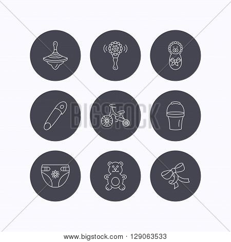 Newborn, diapers and bear toy icons. First bike, bow and pin linear signs. Rattle, whirligig and bucket flat line icons. Flat icons in circle buttons on white background. Vector