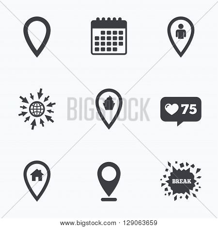 Calendar, like counter and go to web icons. Map pointer icons. Home, food and user location symbols. Restaurant and cupcake signs. You are here. Location pointer.