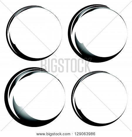 Grungy Ink, Tint Circles. Set Of 4 Version. Handdrawn Circle Frames, Borders