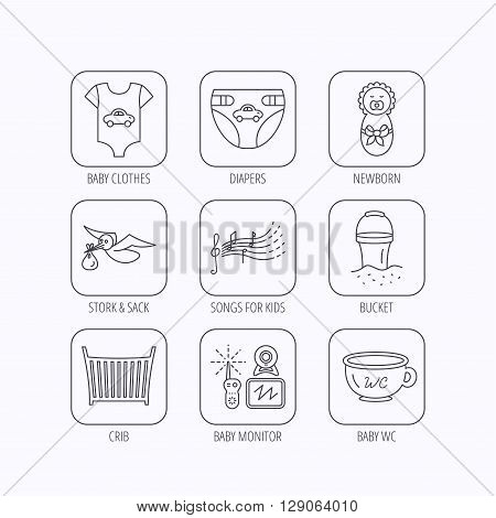Diapers, newborn baby and clothes icons. Kids songs, beach bucket and bed linear signs. Video monitoring, wc flat line icons. Flat linear icons in squares on white background. Vector