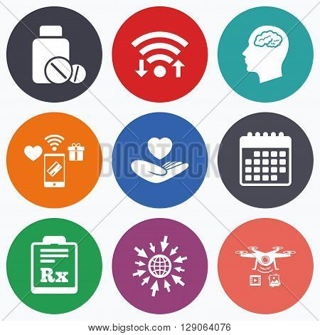 Wifi, mobile payments and drones icons. Medicine icons. Medical tablets bottle, head with brain, prescription Rx signs. Pharmacy or medicine symbol. Hand holds heart. Calendar symbol.