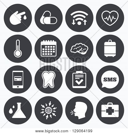 Wifi, calendar and mobile payments. Medicine, healthcare and diagnosis icons. Tooth, pills and doctor case signs. Neurology, blood test symbols. Sms speech bubble, go to web symbols.