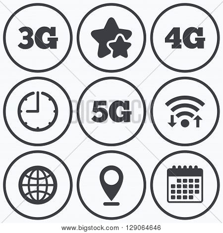 Clock, wifi and stars icons. Mobile telecommunications icons. 3G, 4G and 5G technology symbols. World globe sign. Calendar symbol.