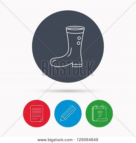 Boots icon. Garden rubber shoes sign. Waterproof wear symbol. Calendar, pencil or edit and document file signs. Vector