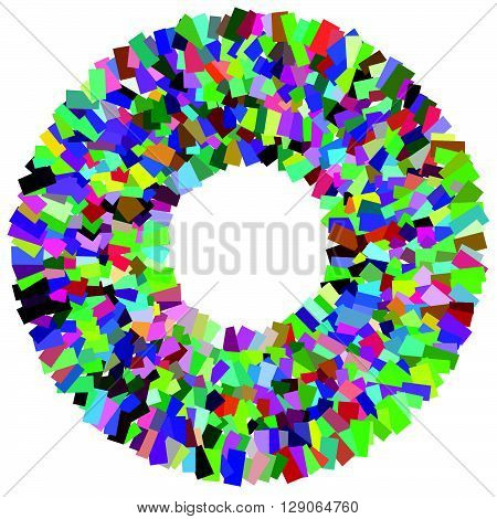Circular Mosaic Element. Multicolor Circle With Scattered, Random Overlapping Rectangles.