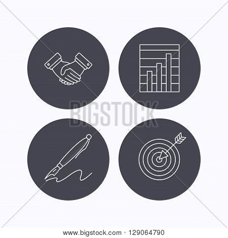 Handshake, graph charts and target icons. Pen linear sign. Flat icons in circle buttons on white background. Vector