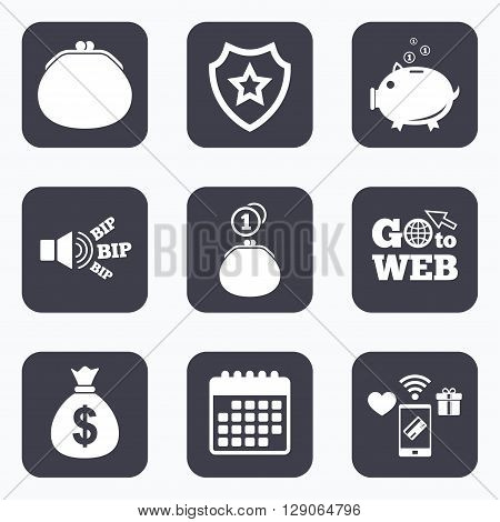 Mobile payments, wifi and calendar icons. Wallet with cash coin and piggy bank moneybox symbols. Dollar USD currency sign. Go to web symbol.