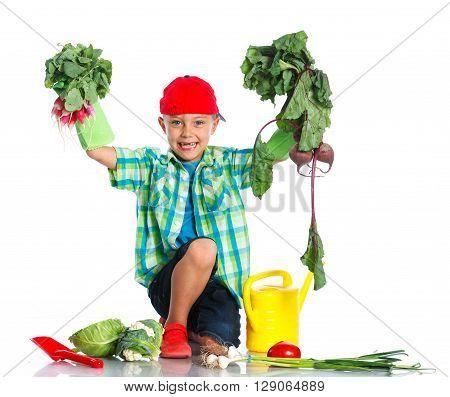 Cute preschool boy gardener. Isolated on the white background