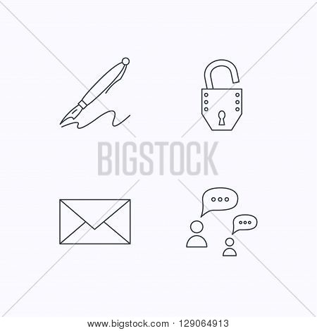 Dialog, mail envelope and open lock icons. Pen linear sign. Flat linear icons on white background. Vector