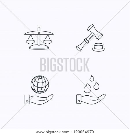 Save nature, auction and scales of justice icons. Save planet linear sign. Flat linear icons on white background. Vector