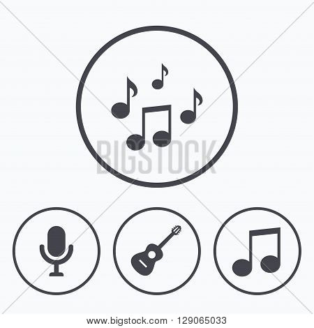 Music icons. Microphone karaoke symbol. Music notes and acoustic guitar signs. Icons in circles.