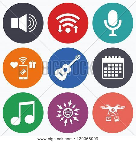 Wifi, mobile payments and drones icons. Musical elements icons. Microphone and Sound speaker symbols. Music note and acoustic guitar signs. Calendar symbol.