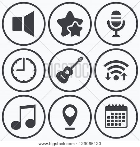 Clock, wifi and stars icons. Musical elements icons. Microphone and Sound speaker symbols. Music note and acoustic guitar signs. Calendar symbol.