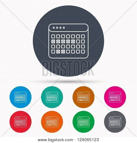 Calendar icon. Vacations organizer sign. Office reminder symbol. Icons in colour circle buttons. Vector