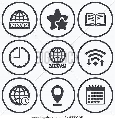Clock, wifi and stars icons. News icons. World globe symbols. Open book sign. Education literature. Calendar symbol.