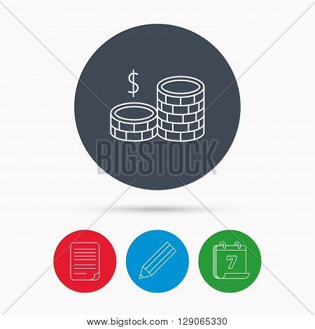 Dollar coins icon. Cash money sign. Bank finance symbol. Calendar, pencil or edit and document file signs. Vector