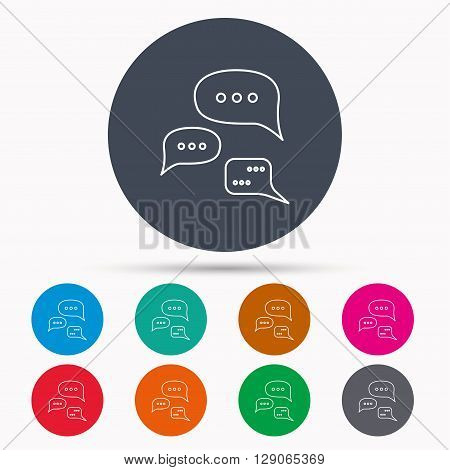 Conversation icon. Chat speech bubbles sign. Communication clouds symbol. Icons in colour circle buttons. Vector