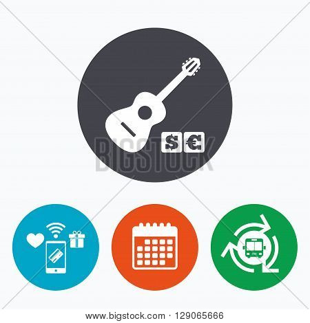 Acoustic guitar sign icon. Paid music symbol. Mobile payments, calendar and wifi icons. Bus shuttle.