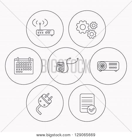 Electric plug, wi-fi router and projector icons. Music player linear sign. Check file, calendar and cogwheel icons. Vector