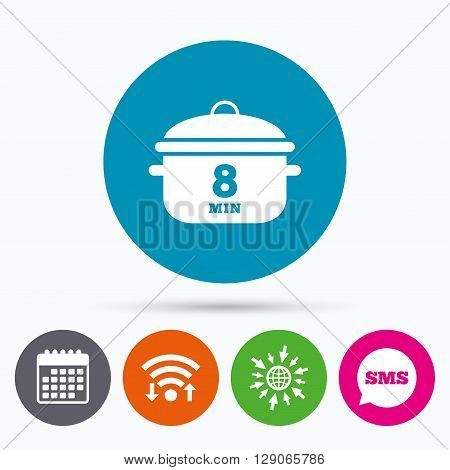 Wifi, Sms and calendar icons. Boil 8 minutes. Cooking pan sign icon. Stew food symbol. Go to web globe.