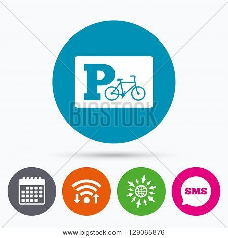 Wifi, Sms and calendar icons. Parking sign icon. Bicycle parking symbol. Go to web globe.