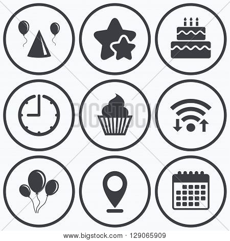 Clock, wifi and stars icons. Birthday party icons. Cake, balloon, hat and muffin signs. Celebration symbol. Cupcake sweet food. Calendar symbol.