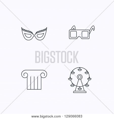 Mask, 3d glasses and column icons. Ferris wheel linear sign. Flat linear icons on white background. Vector