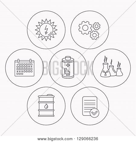 Solar energy, battery and oil barrel icons. Industries linear sign. Check file, calendar and cogwheel icons. Vector