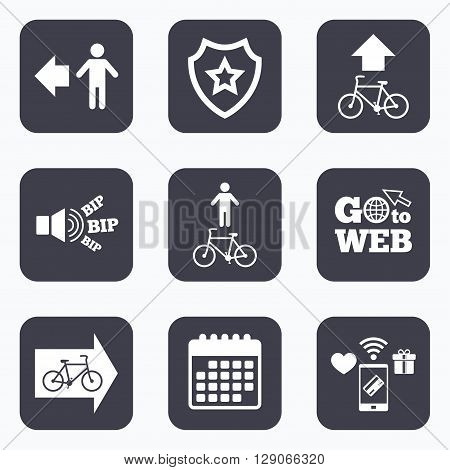 Mobile payments, wifi and calendar icons. Pedestrian road icon. Bicycle path trail sign. Cycle path. Arrow symbol. Go to web symbol.