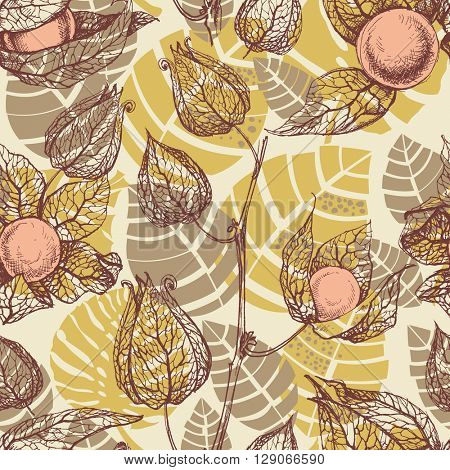Fruits pattern, physalis background