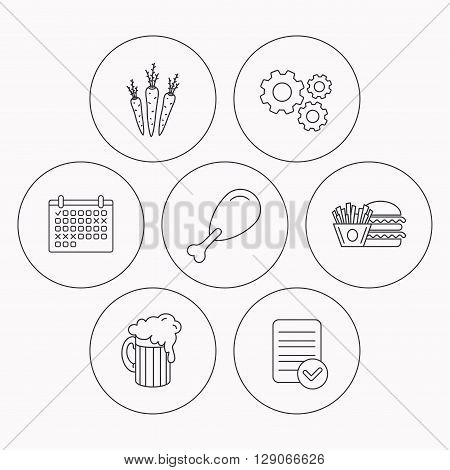 Hamburger, beer and chicken leg icons. Burger and chips fries linear signs. Check file, calendar and cogwheel icons. Vector