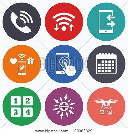 Wifi, mobile payments and drones icons. Phone icons. Touch screen smartphone sign. Call center support symbol. Cellphone keyboard symbol. Incoming and outcoming calls. Calendar symbol.